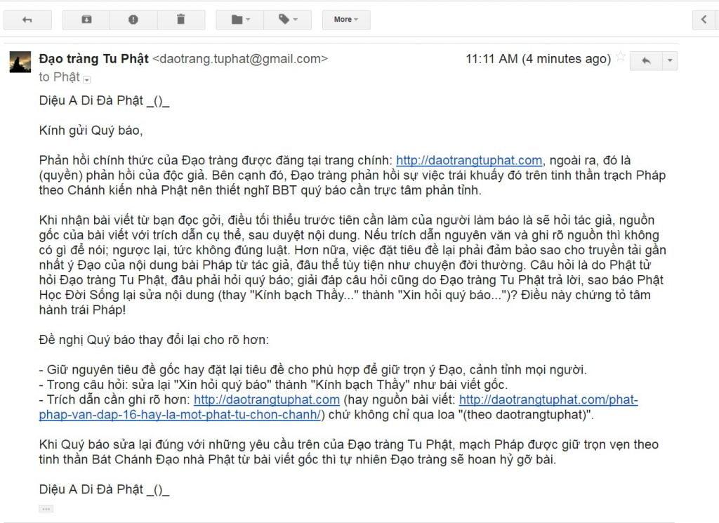 Phan hoi cua Dao trang Tu Phat